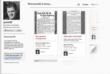 Profile page on Bismarck Tribune Archive